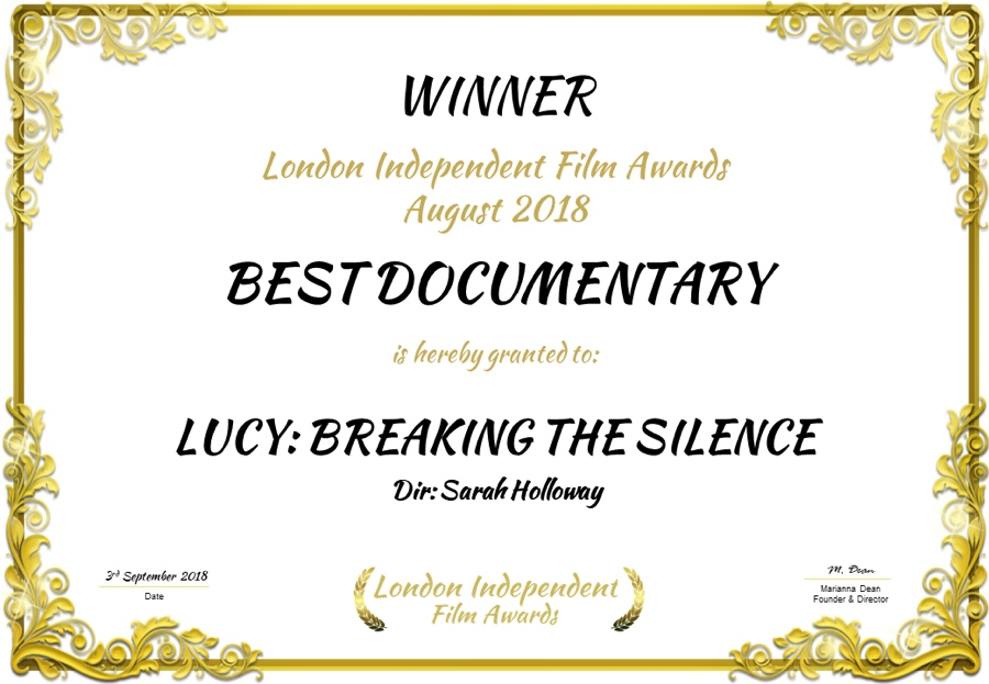 Award Certificate for Best Documentary August 2018