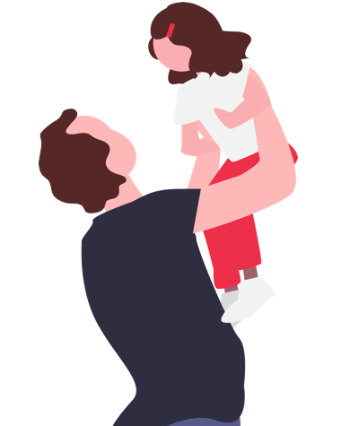 Family mental health support illustration with man holding child and playing